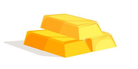 Gold bars flat vector illustration