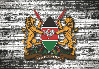 Kenya coat of arms on dirty background. Wall mural