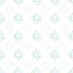Fresh green and blue brushstroke circles with random dots in alternating transparent rows. Seamless geometric vector pattern on white background. Great for wellbeing, spa products, texture, home decor