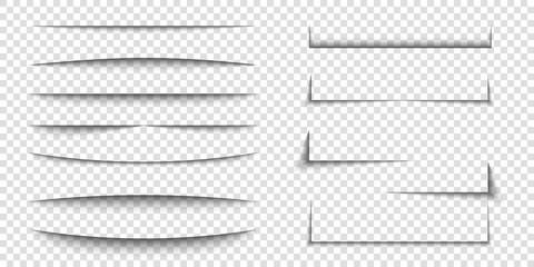 Paper sheet shadow effect. 3D line edge shape. Transparent realistic sheet dividers. Web banner vector drop soft shadows