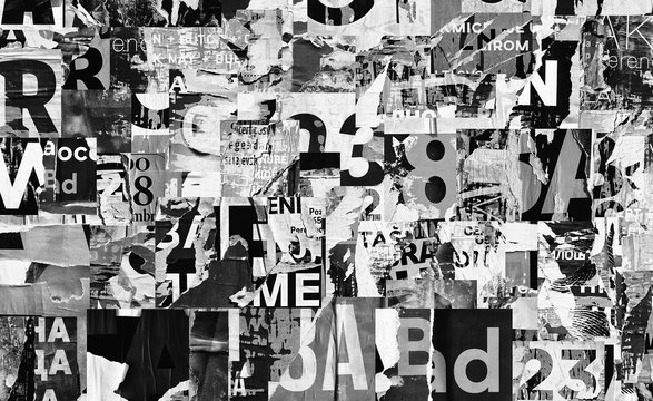 Torn street advertisement posters collage background texture creased crumpled ripped paper backdrop surface placard