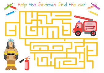 Character for training: firefighter, fireman. Labyrinth, maze. Man in firefighter uniform Educational game for children. Cartoon vector illustration