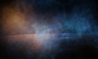 Fotomurales - Wet asphalt, reflection of neon lights, a searchlight, smoke. Abstract light in a dark empty street with smoke, smog. Dark background scene of empty street, night view,