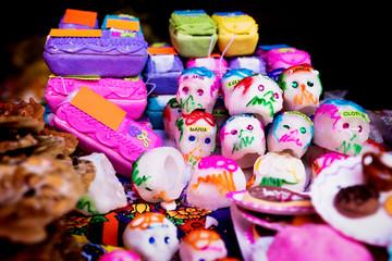 Mexican sugar skull and coffin candy, calaveras, for dias de los muertos