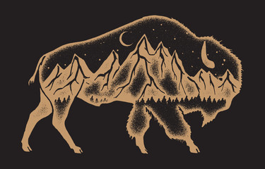 American bison with mountain range inside double exposure style vintage sign - hiking t-shirt design