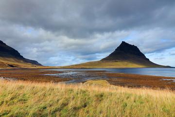 Extinct volcano in Iceland. Mount Kirkjufell in the Snaefellsnes peninsula, Iceland, Europe