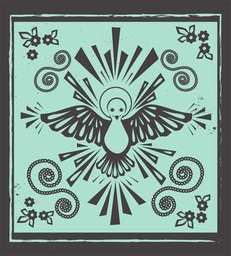Holy spirt dove vector. Woocut style illustration.