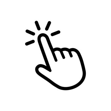 Click button with hand pointer clicking. Click here web button. Isolated website hand finger clicking cursor – stock vector