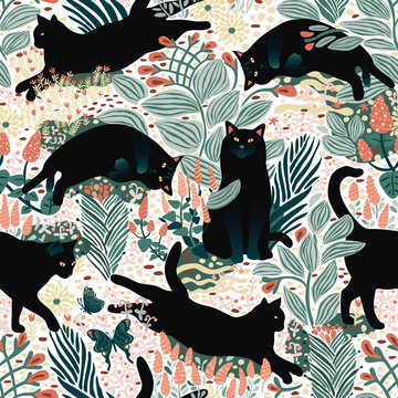 Black cats having fun in the butterfly garden.Hand drawn seamless pattern, vector format.