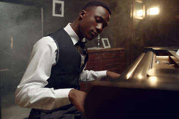 Ebony grand piano player, jazz performance