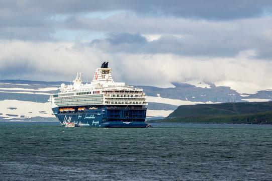 The Mein Schiff 2 cruise ship near Iceland