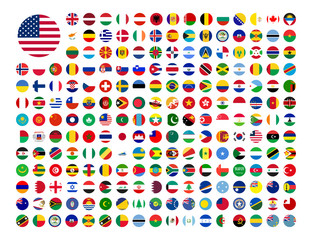 flags of the world country in flat