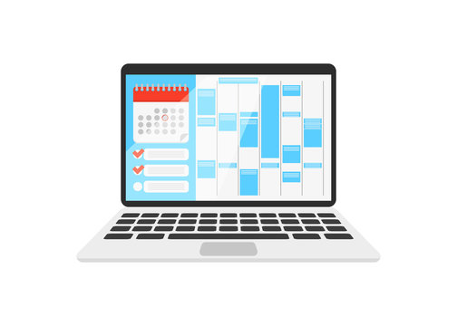 calendar on the laptop with check list