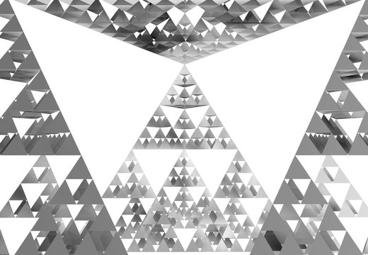 Sierpinski triangle close-up on white background. It is a fractal with the overall shape of an equilateral triangle, subdivided recursively into smaller equilateral triangles. 3D Illustration