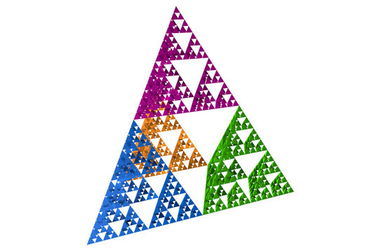 Blue Sierpinski triangle on white background. It is a fractal with the overall shape of an equilateral triangle, subdivided recursively into smaller equilateral triangles. 3D Illustration