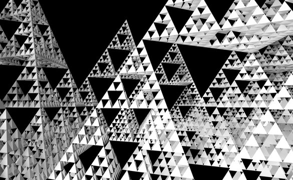 Sierpinski triangle texture on black background. It is a fractal with the overall shape of an equilateral triangle, subdivided recursively into smaller equilateral triangles. 3D Illustration