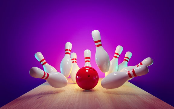 Bowling strike - ball hitting pins in the alley 3d render