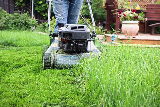 Clsoeup of a lawnmower cutting tall grass