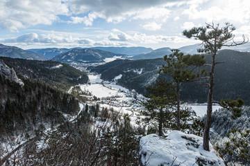 Blick vom Hausstein auf Muggendorf und Pernitz, Niederösterreich, Österreich