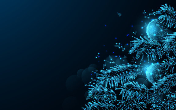 Christmas tree and balls from lines, triangles and particle style design