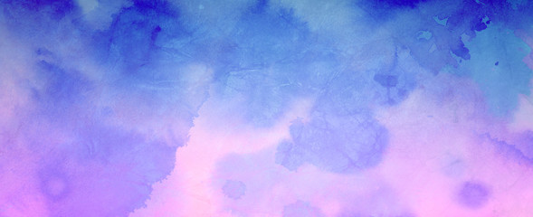 Wall Mural - blue and purple pink watercolor background painting in soft colors on old crumpled paper texture design, elegant abstract  watercolor paint illustration
