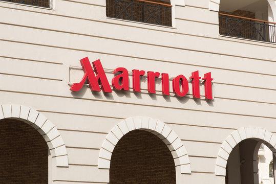 Esto Sadok. Sochi. Krasnaya Polyana. Russia - September 4, 2018: Sign Marriott on the Hotel. Marriott International, Inc. is an American Diversified Hospitality Company.