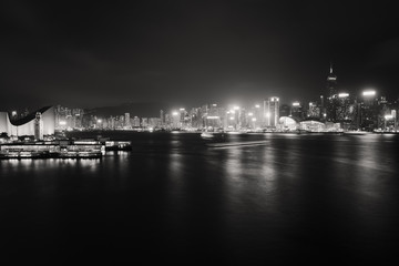 Fototapete - Long exposure Victoria harbor landscape