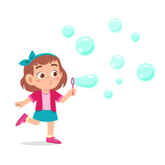Obraz happy cute kid girl blow bubble soap - fototapety do salonu