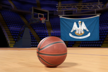 Louisiana state flag and basketball on Court Floor