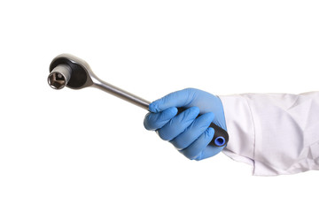 The key for the car repair man holding in his hand. Isolated on white.