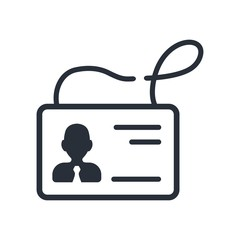 Identification card of a company or organization representative. Vector icon on a white background.
