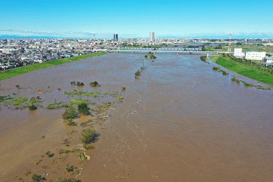 台風で増水した江戸川