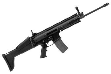 belgium army rifle on white background