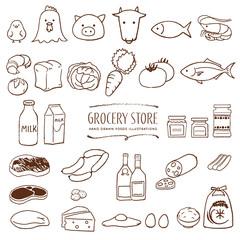 Fototapeta スーパーマーケットの食料品 手描き イラスト 線画 obraz