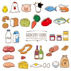 Fototapeta スーパーマーケットの食料品 手描き イラスト 色 obraz