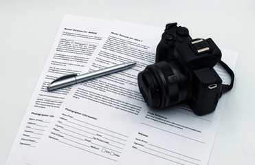 Model Release for adult and for minor documents, isolated on white background. Model Release signing concept.