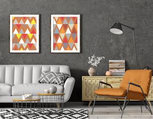 Modern interior design of living room with grey sofa, floor lamp and orange armchair 3d rendering