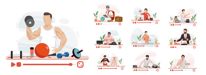 Various video blogger make review, People on screen. business, food and games and sports. Modern design linear art flat illustration - Vector app, background, beauty, blog, blogger, blogging