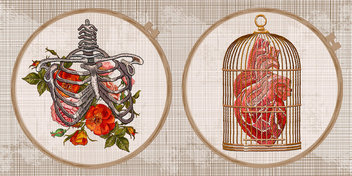 Embroidery collection. Anatomical heart, golden cage and skeleton ribs and flowers. Template tambour frame with a canvas, elements from stitches. Art for clothes
