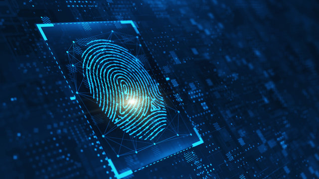 Digital biometric, security and identify by fingerprint concept. Scanning system of the fingerprint. 3d rendering