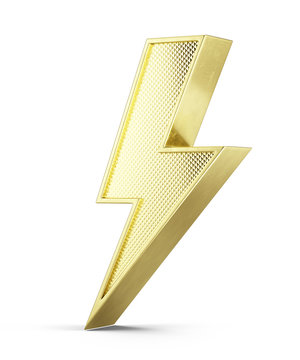 Flash of lightning 3d icon on white background - 3d illustration of golden 3d bolt lightning