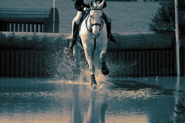 Horse and rider at a water jump competing, in the cross country stage, at an equestrian three day event. With colour toning Wall mural