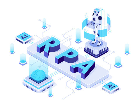 Isometric RPA. Robotic process automation, futuristic artificial intelligence robots and AI learning. Future factory machining work logistic, robotic welding process vector illustration