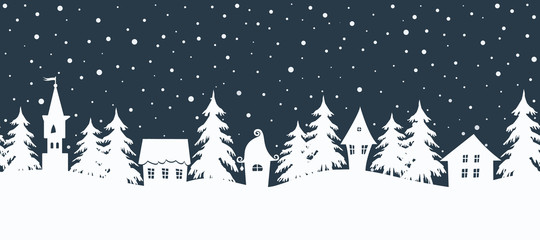 Poster Wit Christmas background. Fairy tale winter landscape. Seamless border. There are white houses and fir trees on a dark blue background. Winter village. Vector illustration