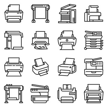 Printer icon. Outline printer vector icon for web design isolated on white background