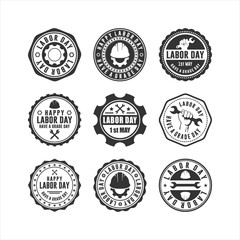 Printed roller blinds Retro Flat Labor Day Badge Collections