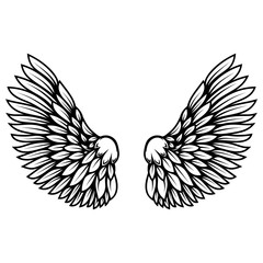 illustration of wings in tattoo style isolated on white background. Design element for logo, label, badge, sign. Vector illustration