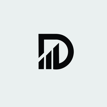 D letter financial logo vector icon Free