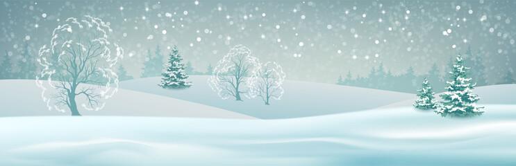 Printed kitchen splashbacks Light blue Vector Winter Landscape