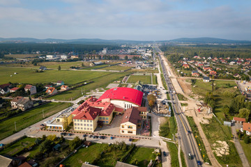 Village in Poland. Sunny day, sports hall